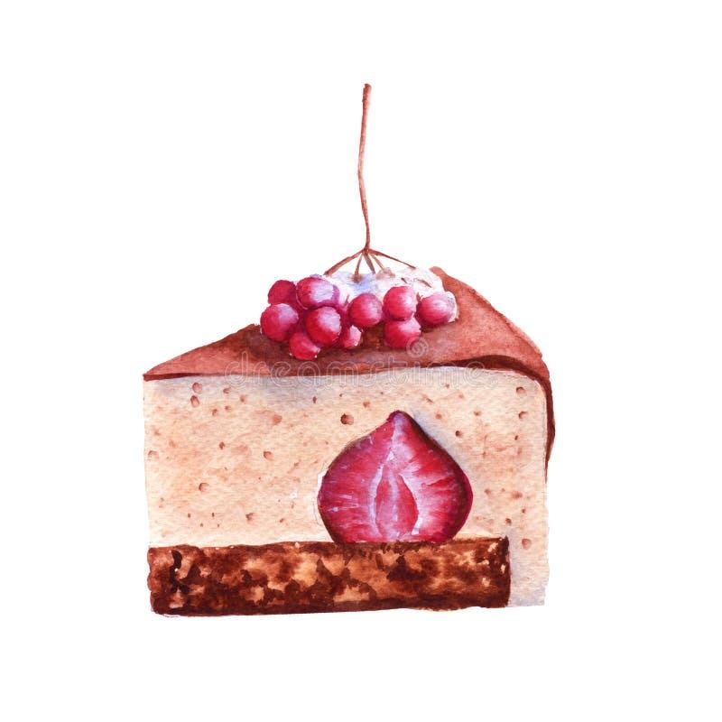 早餐点心用冬天莓果 查出 额嘴装饰飞行例证图象其纸部分燕子水彩 免版税库存图片