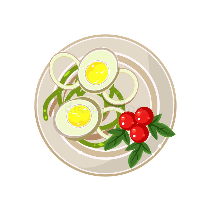 早餐用西红柿和煮沸的鸡蛋 皇族释放例证