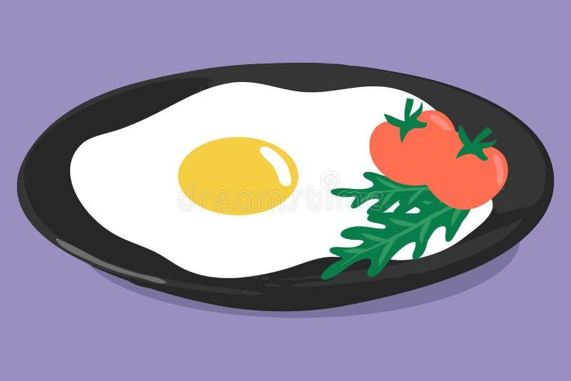 早餐的传染媒介例证在黑暗的板材的 皇族释放例证