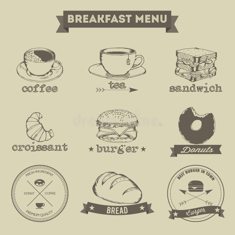 早餐菜单手图画样式 向量例证