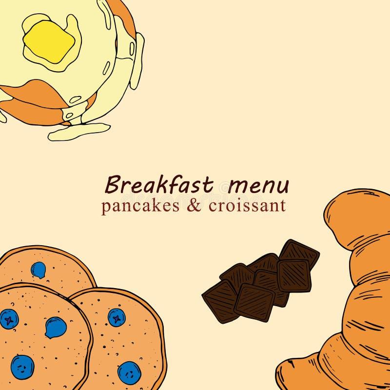 早餐菜单的手拉的例证在动画片样式的 库存例证