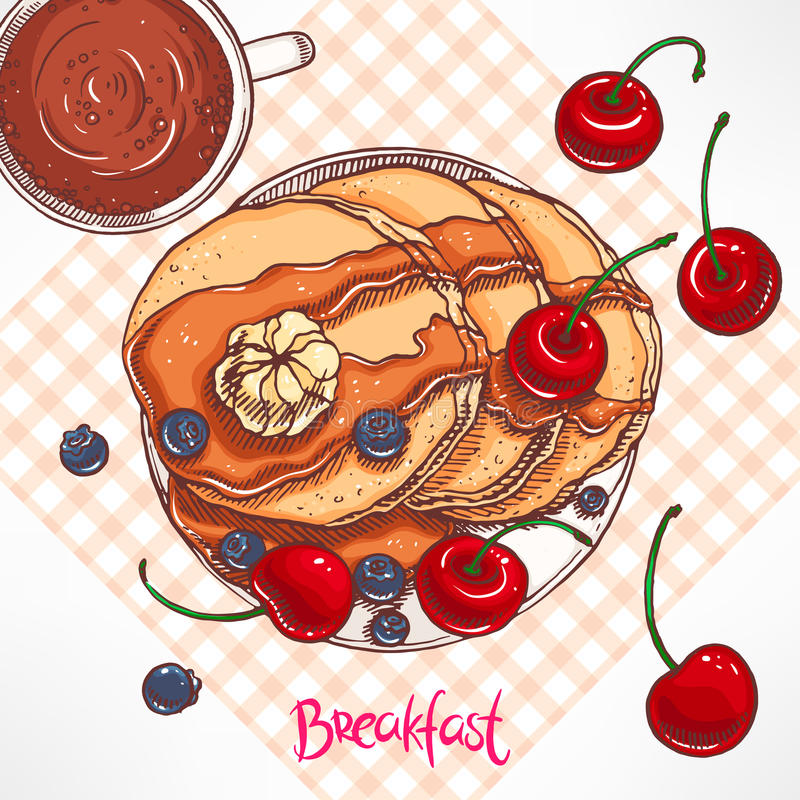 早餐薄煎饼用枫蜜 皇族释放例证