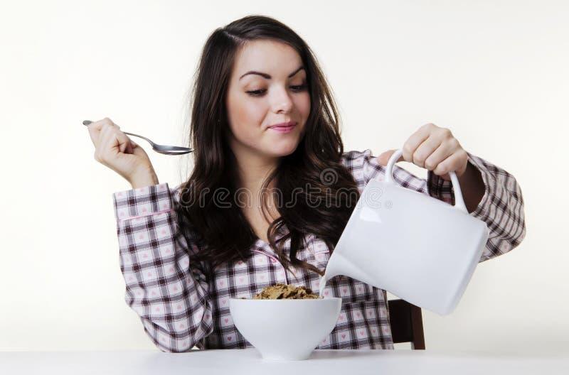 早餐食品牛奶时间 免版税图库摄影