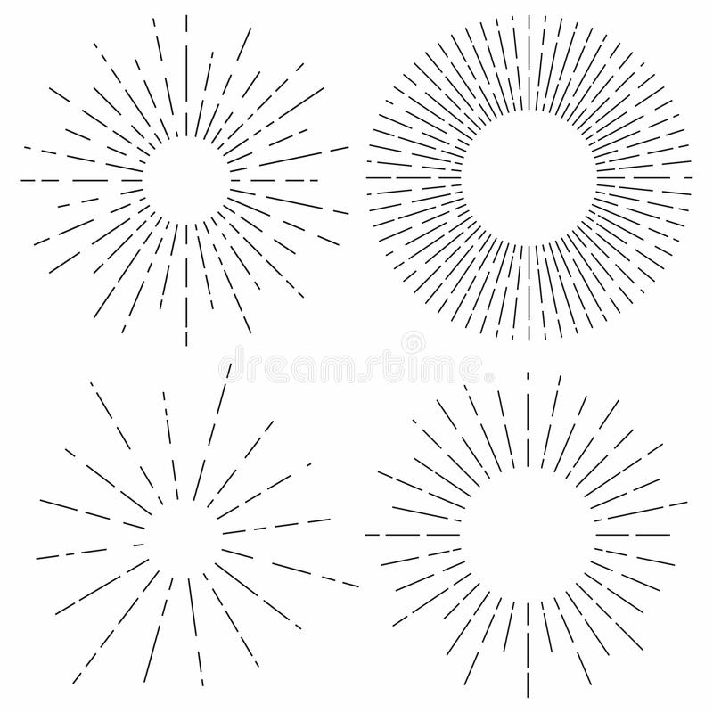 旭日形首饰集合 在葡萄酒样式的阳光光芒 光线,辐形光束装饰 向量例证
