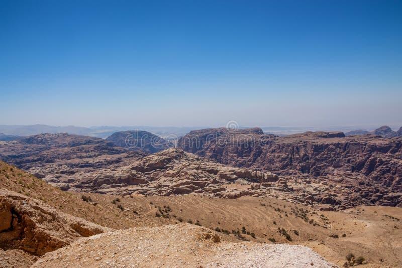 旱谷芭蕉科,约旦的全景在Petra附近的 免版税库存图片