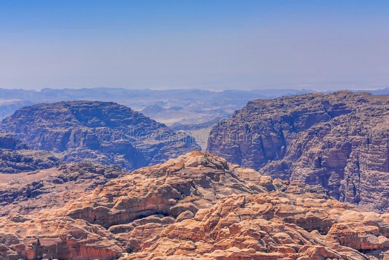 旱谷芭蕉科,约旦的全景在Petra附近的 库存照片