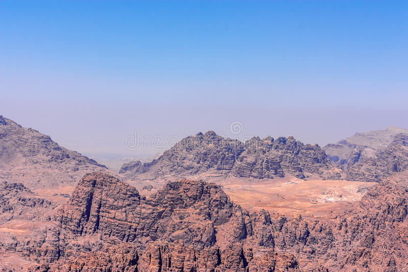 旱谷芭蕉科,约旦的全景在Petra附近的 免版税图库摄影