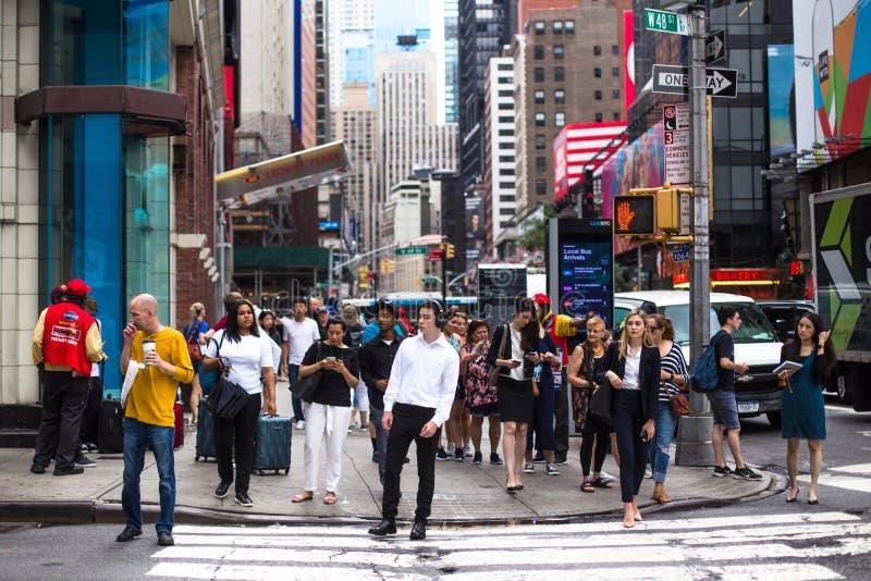 时代广场纽约人群 免版税库存图片