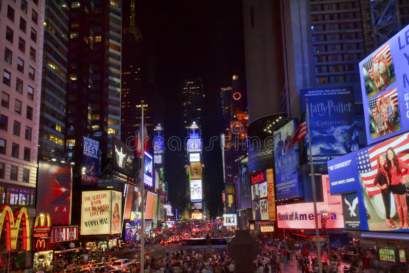 时代广场纽约晚上 免版税库存照片