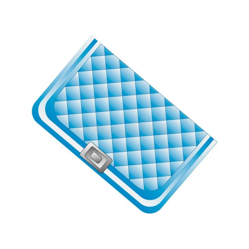 时兴的传动器提包 在时髦蓝色的时装配件发廊的,商店,博克印刷品 隔绝在白色backgroun 皇族释放例证
