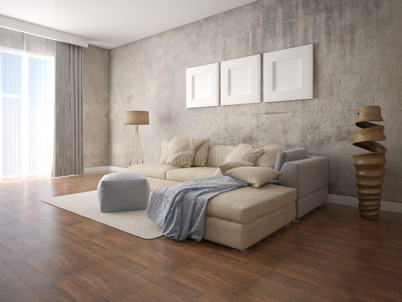 时兴的宽敞客厅的嘲笑有一个大舒适的沙发的 向量例证