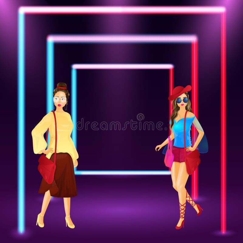 时兴的少女的例证霓虹框架的 皇族释放例证