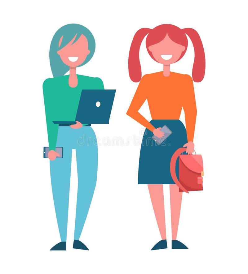 时兴的布料的,传染媒介现代女学生 向量例证