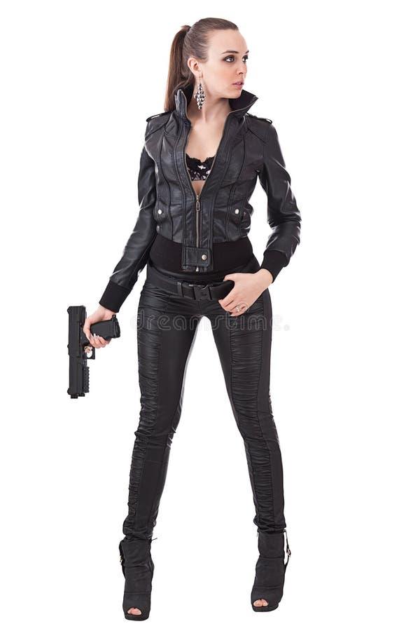 时兴的枪妇女 库存图片