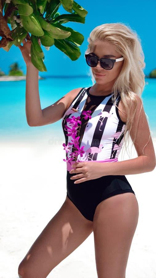 时兴的比基尼泳装的性感的白肤金发的妇女晒黑在热带海滩的 摆在异乎寻常的海岛上的俏丽的亭 图库摄影