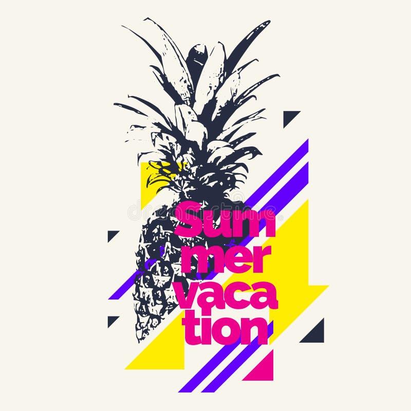 时兴的现代海报用菠萝,暑假 库存例证
