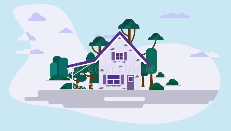时兴的紫罗兰色神仙的房子,在现代,美好的背景的一个公园 r 向量例证