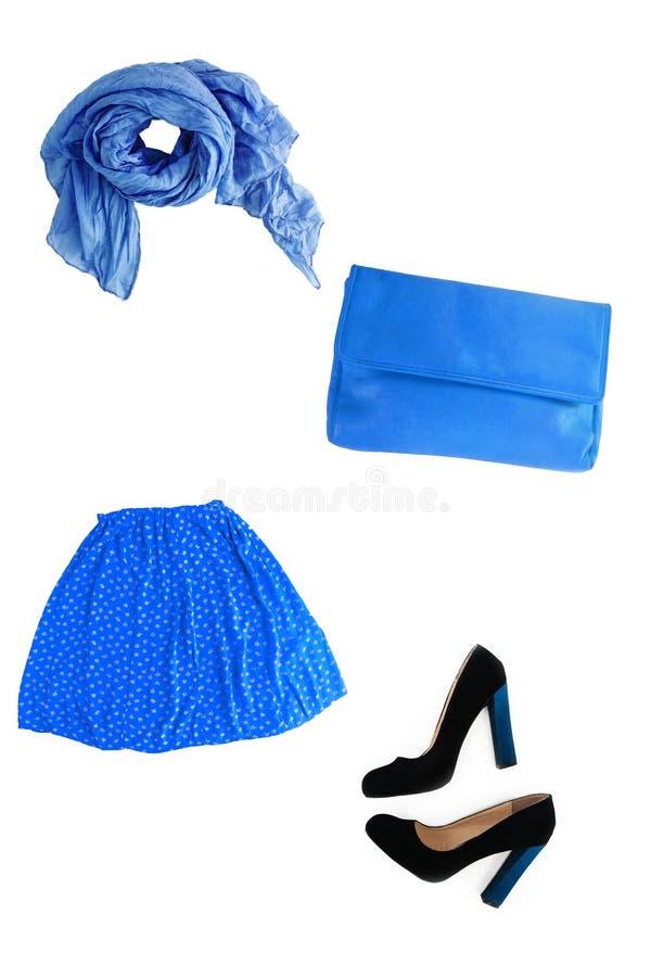 时兴的蓝色女性衣裳和辅助部件isola拼贴画  库存照片