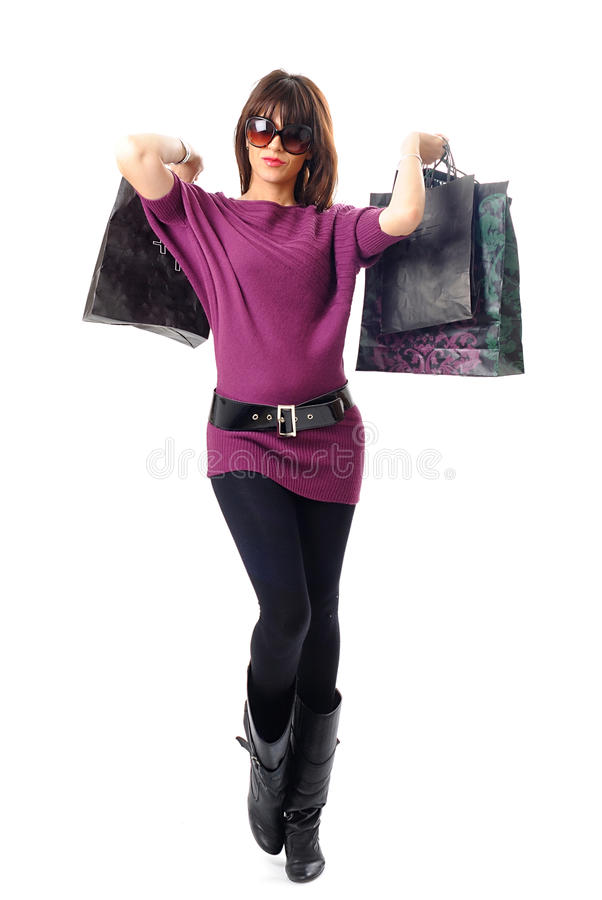时兴的购物妇女 免版税库存图片