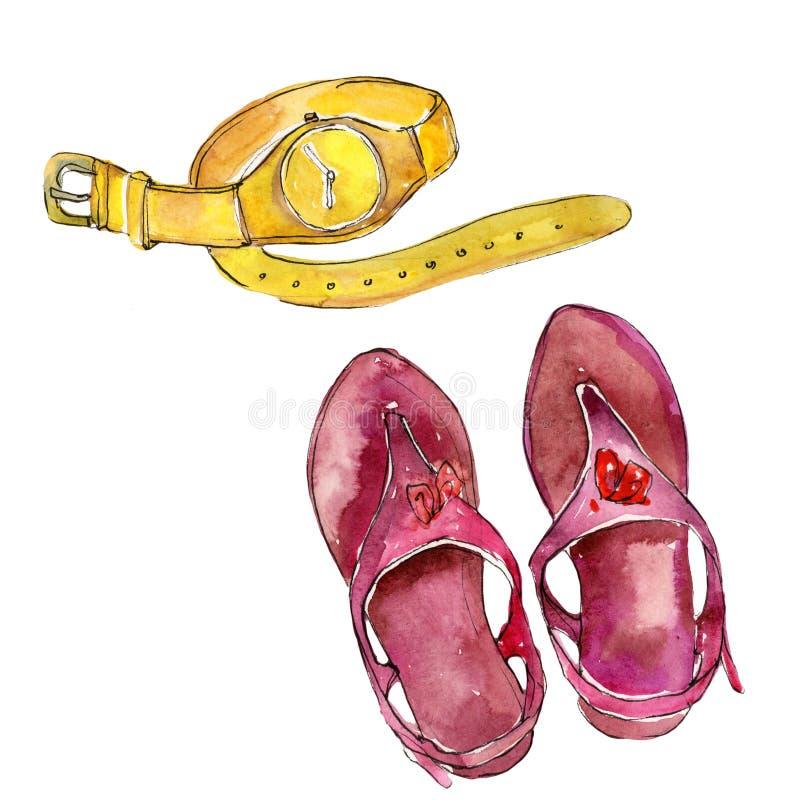 时兴的辅助部件魅力例证 衣裳辅助部件设置了时髦时髦成套装备 皇族释放例证