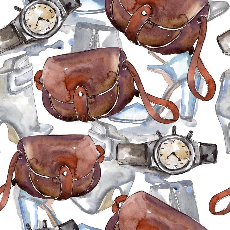 时兴的辅助部件魅力例证 衣裳辅助部件设置了时髦时髦成套装备 库存例证