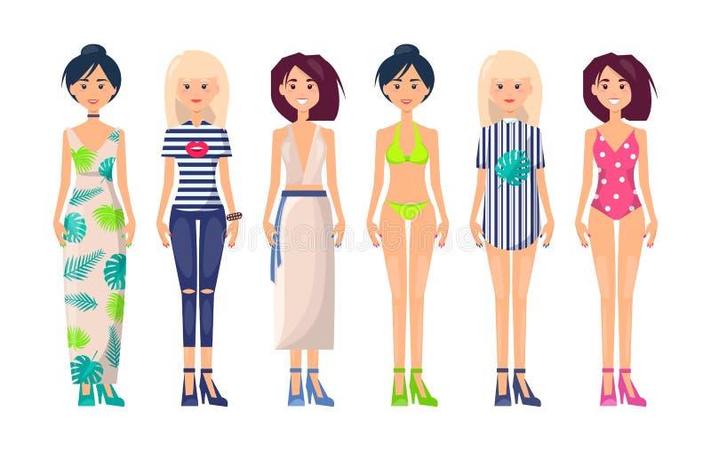 时兴衣物项目的新的夏天的收藏 向量例证