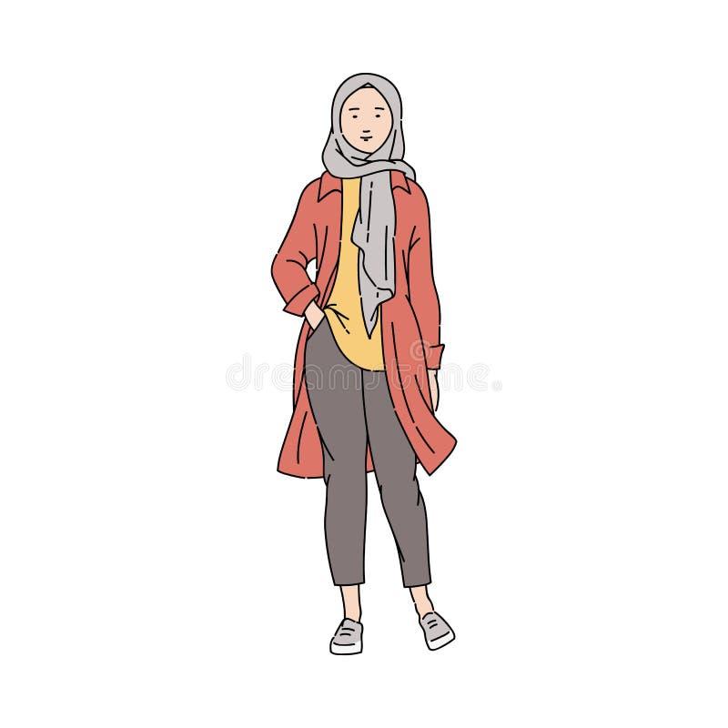 时兴,年轻和现代阿拉伯回教女孩或妇女裤子和hijab的 库存例证
