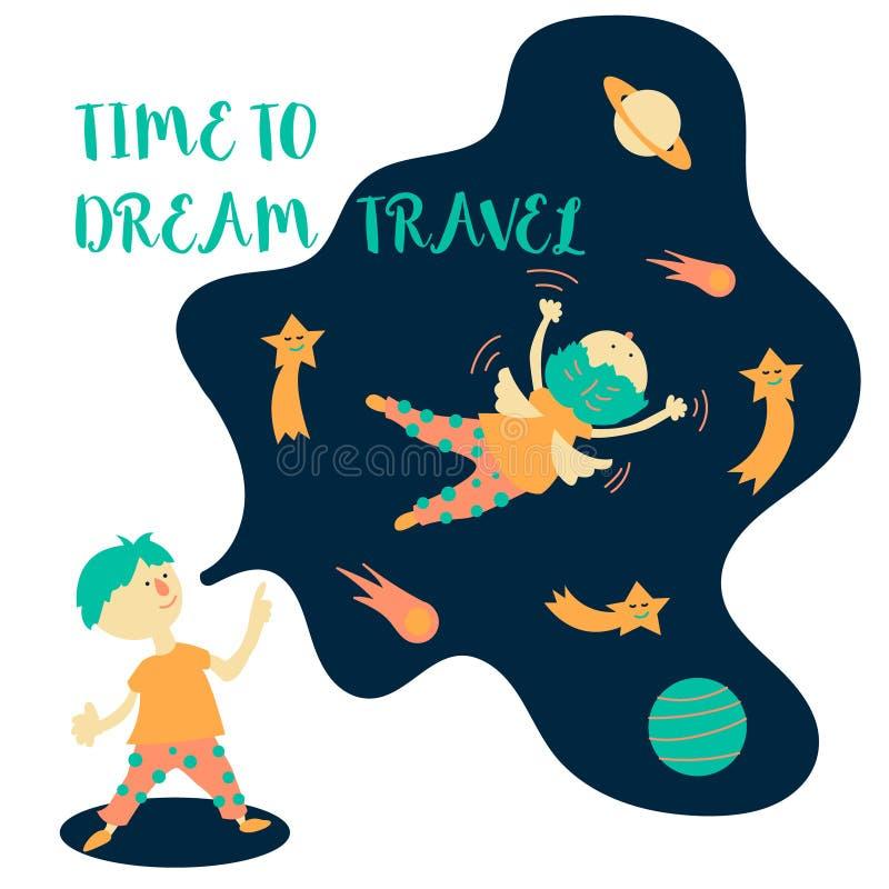 时刻作旅行 的一个男孩梦想梦想旅行在空间 向量例证
