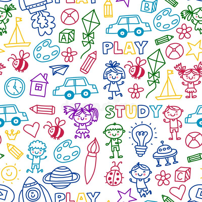 时刻冒险得出乱画的想象力创造性小儿童游戏托儿所幼儿园学龄前学校孩子 向量例证