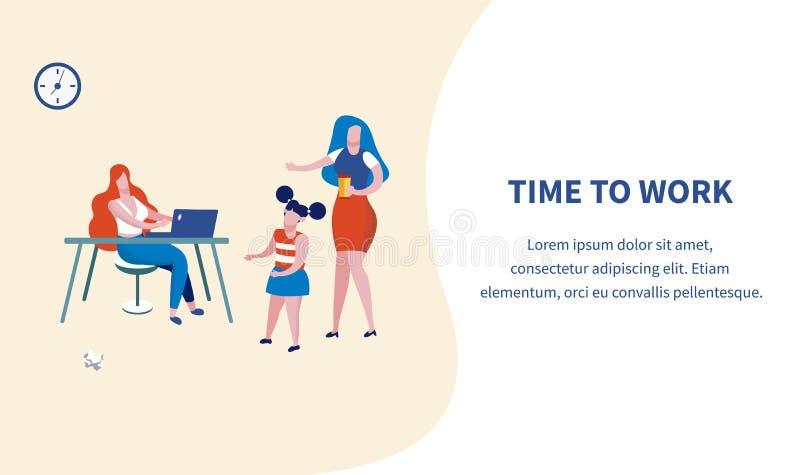 时刻工作横幅,在膝上型计算机的年轻女人工作 皇族释放例证