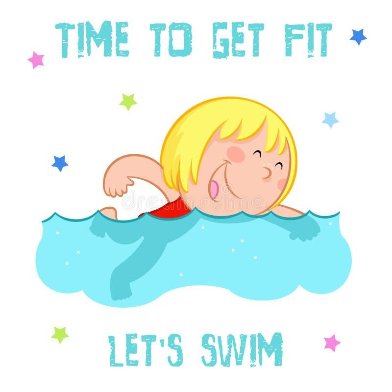 时刻得到适合-可爱的小女孩和夏天体育- -被隔绝的游泳图片
