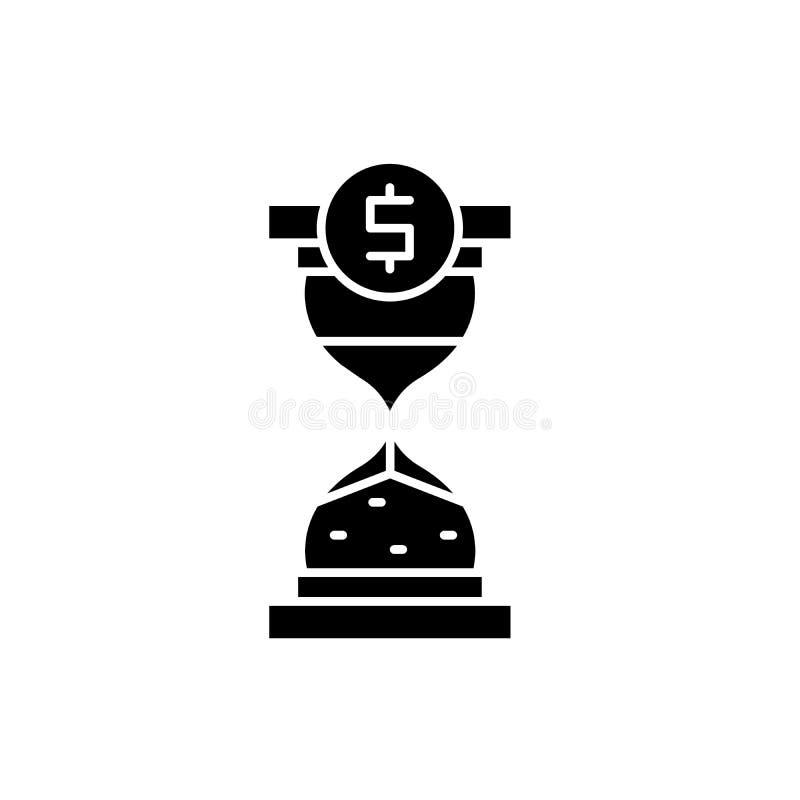 时刻投资黑象,在被隔绝的背景的传染媒介标志 时刻投资概念标志,例证 皇族释放例证