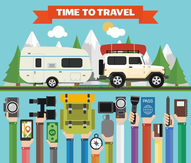 时刻旅行与吉普的平的设计,拖车野营 夏天休假 向量例证