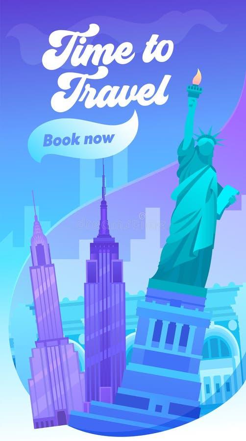 时刻旅行印刷术横幅 美国的团结的状态的参观大城市 纽约有象布鲁克林大桥,中央公园的视域 库存例证