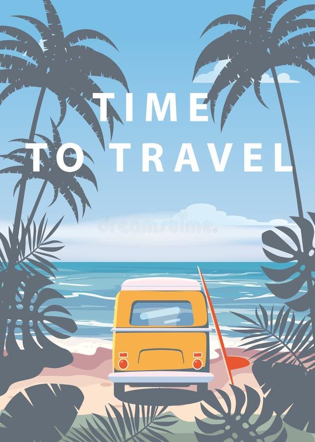时刻旅行夏天休假假期海景风景海洋海海滩,海岸,棕榈叶 公共汽车冲浪板,减速火箭 皇族释放例证