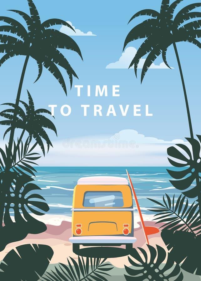 时刻旅行夏天休假假期海景风景海洋海海滩,海岸,棕榈叶 公共汽车冲浪板,减速火箭 向量例证