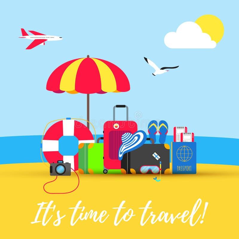 时刻旅行夏天海滩假日假期海报或横幅平的样式设计传染媒介例证概念被隔绝的海backgroun 向量例证