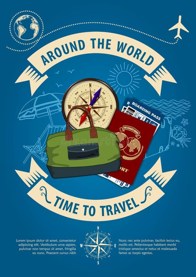 时刻旅行横幅或海报与旅行包、指南针、护照和登机牌票 概念为旅行和假期 皇族释放例证
