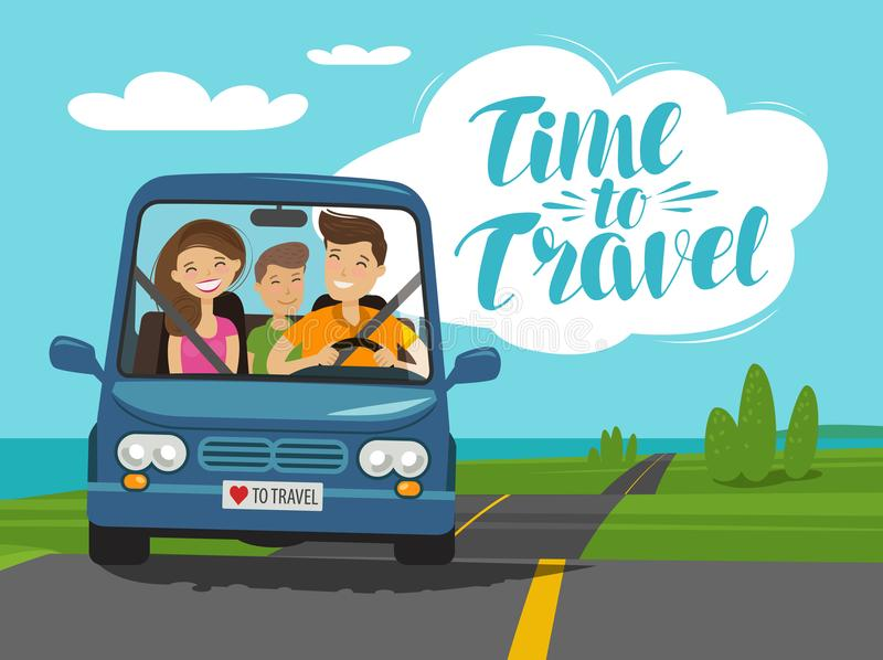时刻旅行,概念 愉快的家庭在旅途乘坐汽车 外籍动画片猫逃脱例证屋顶向量 向量例证