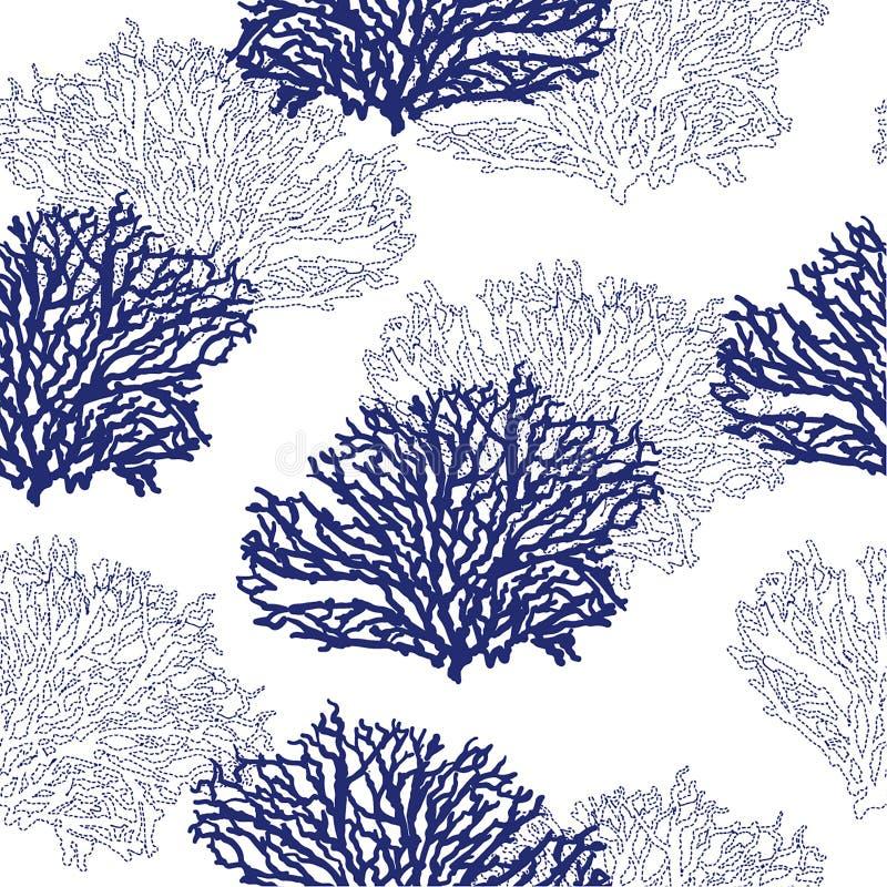 时尚、织品、waalpaper、网和所有印刷品的美好的现代无缝的手拉的珊瑚样式传染媒介例证设计 向量例证