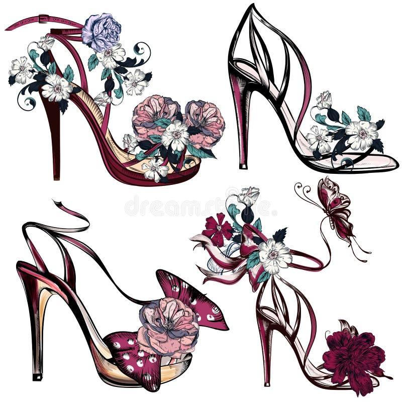 时尚与凉鞋和花的传染媒介集合设计的 库存例证
