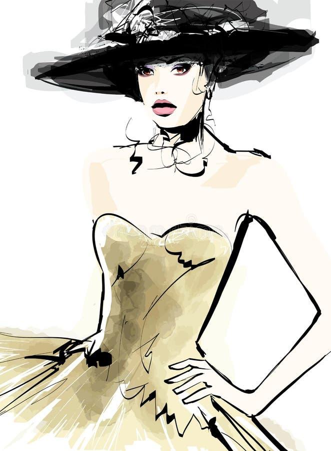 时尚与帽子的妇女模型 皇族释放例证