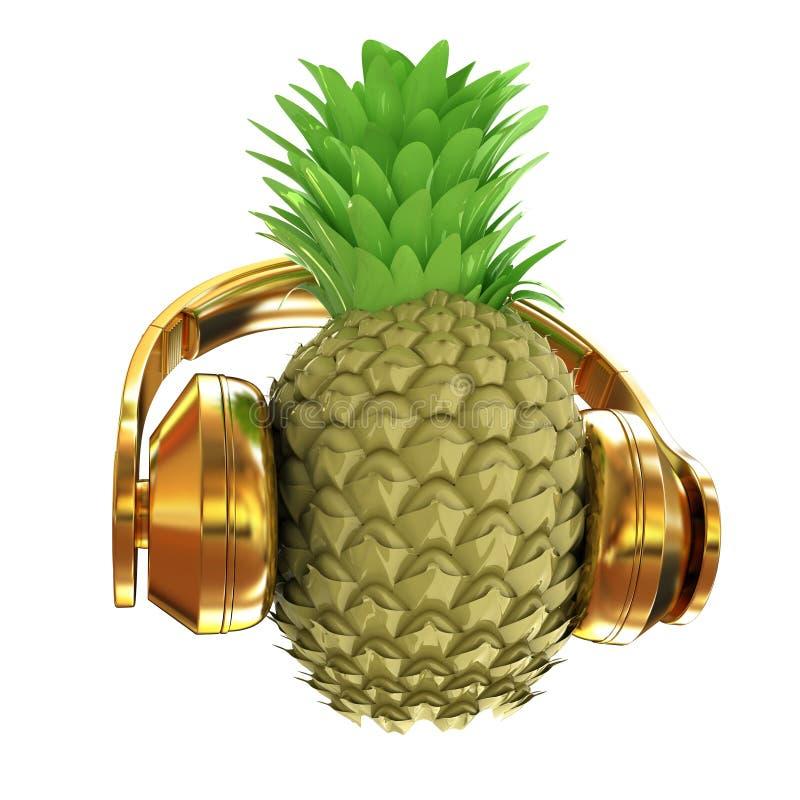 时尚与耳机的金菠萝听到音乐 3d illu 库存例证