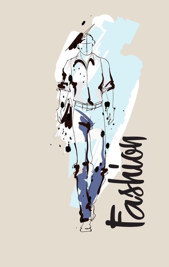 时尚人剪影 画的时装模特儿 皇族释放例证