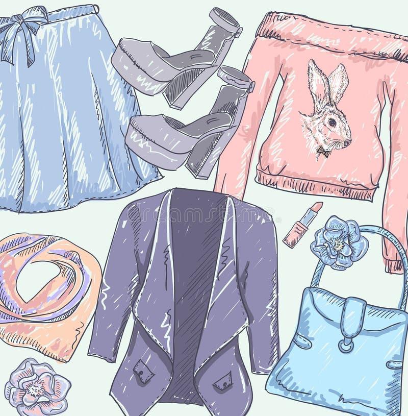 时尚传染媒介剪影设置了与手拉的图表夹克、裙子、袋子、唇膏、鞋子和运动衫 向量例证