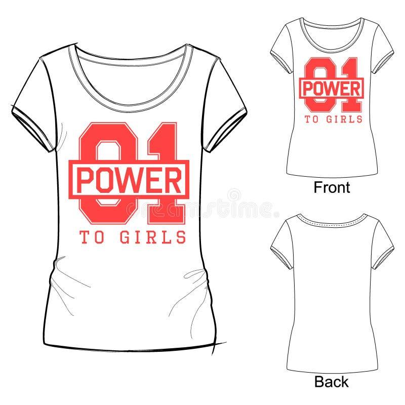 时尚体育女孩的T恤杉印刷品有对女孩的字法01力量的 能使用作为设计为学校或学院制服,欢呼 皇族释放例证
