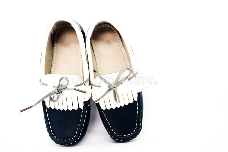 时尚哄骗在白色背景隔绝的鞋子 免版税库存图片