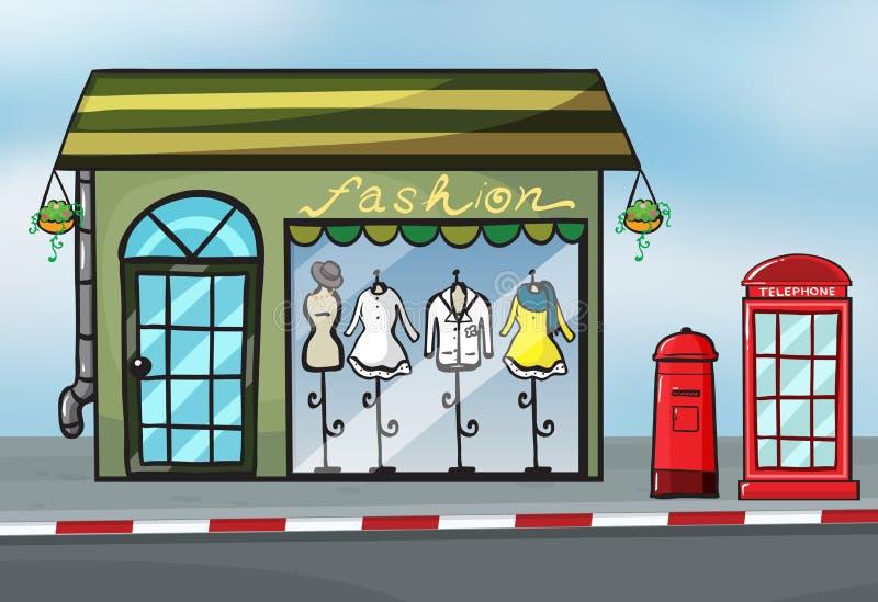 时尚商店和callbox 皇族释放例证