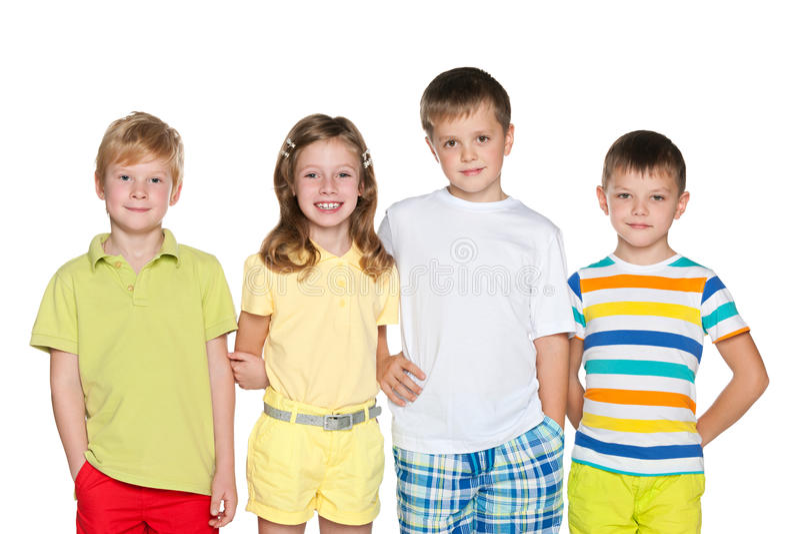 时尚四孩子 免版税库存图片