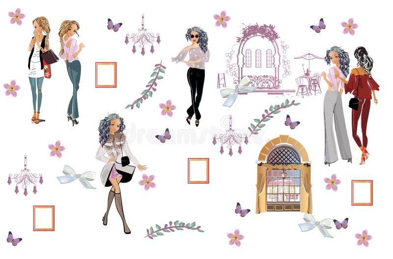 时尚在一个帽子的妇女画象有花和购物带来的 向量例证